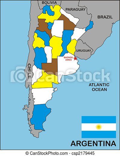 Argentina map Political map of argentina country with flag stock