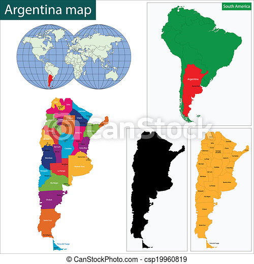 Argentina map Map of administrative divisions of argentina vector