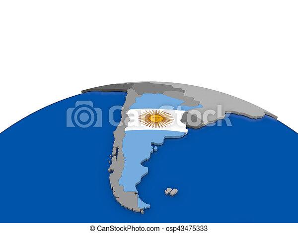 Argentina on 3D globe - csp43475333