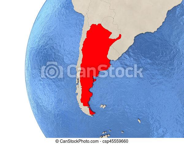 Argentina on 3D globe - csp45559660
