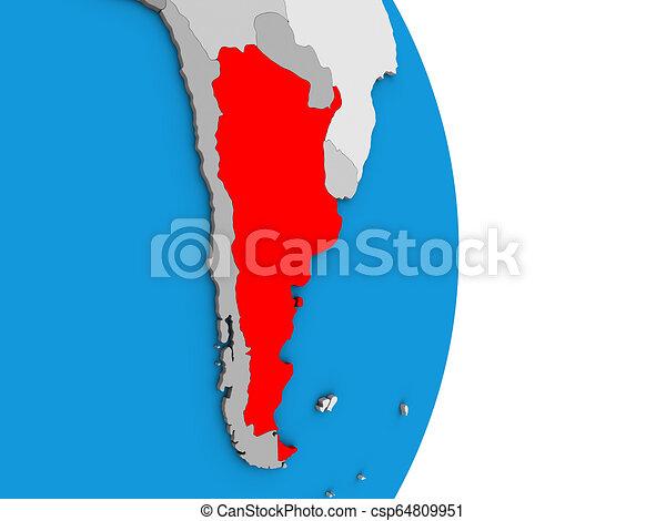 Argentina on 3D globe - csp64809951