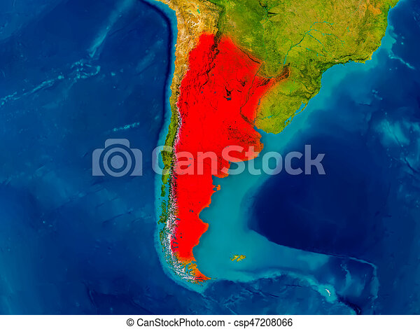 Argentina on physical map. Argentina highlighted in red on physical ...