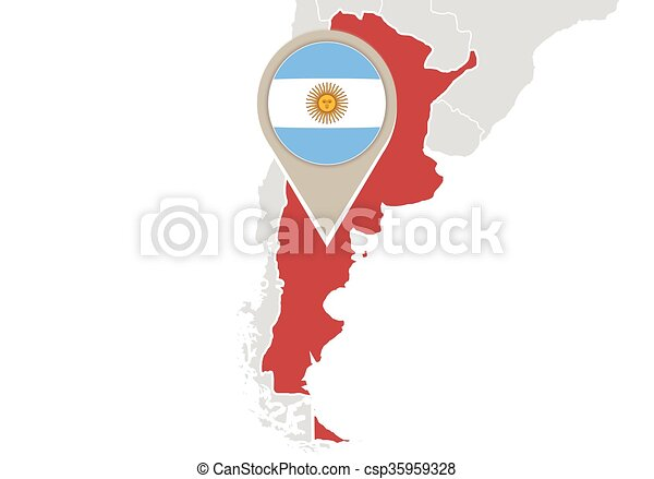Argentina on world map map with highlighted argentina map and flag argentina on world map csp35959328 gumiabroncs Images