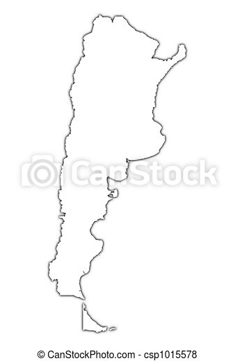Stock Illustration Of Argentina Outline Map With Shadow Detailed - Argentina map outline