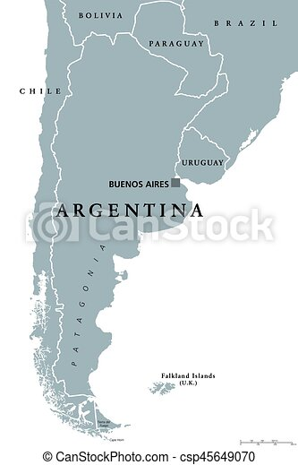 Argentina political map with capital buenos aires national borders