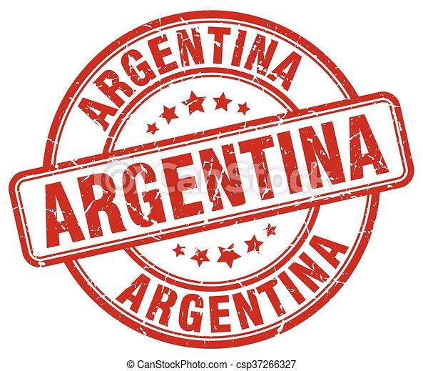 Argentina red grunge round vintage rubber stamp - csp37266327