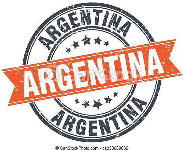 Argentina red round grunge vintage ribbon stamp - csp33689666