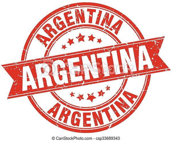 Argentina red round grunge vintage ribbon stamp - csp33689343