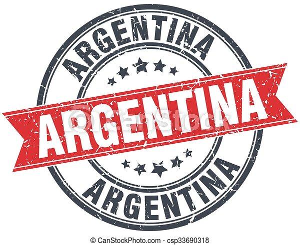 Argentina red round grunge vintage ribbon stamp - csp33690318