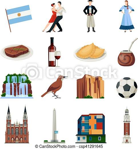 Argentina Symbols Flat Icons Collection Argentina National