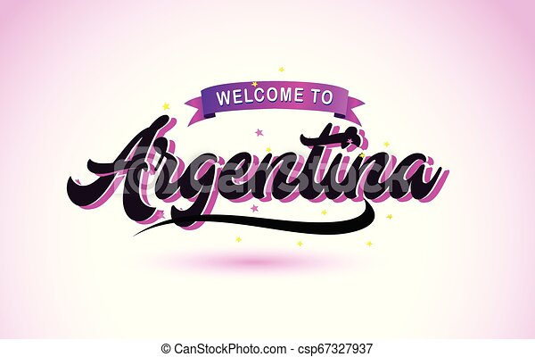 Argentina Welcome to Creative Text Handwritten Font with Purple Pink Colors Design. - csp67327937