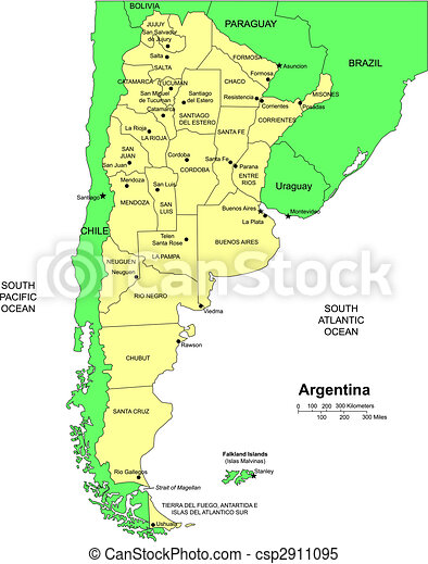 Argentina with administrative districts and surrounding clipart