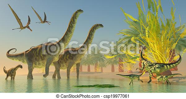 Argentinosaurus in Lake - csp19977061