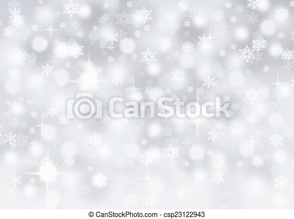 argento, fondo, fiocchi neve - csp23122943