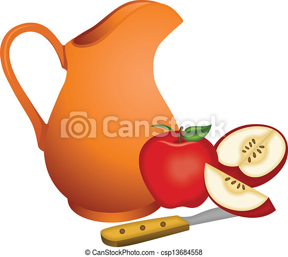 argile, cruche, pommes - csp13684558