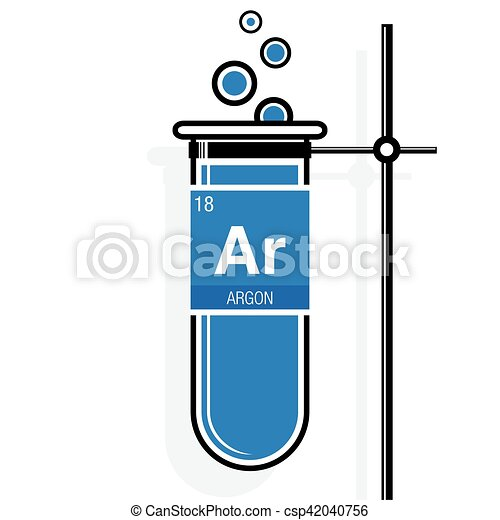 Argon Symbol On Label In A Blue Test Tube With Holder Element