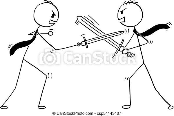 arguire, due, combattimento, uomini affari, concettuale, cartone animato - csp54143407