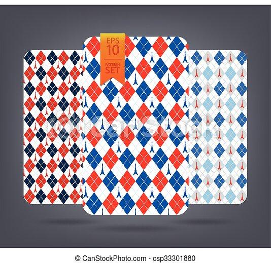 Argyle and chevron patterns. - csp33301880