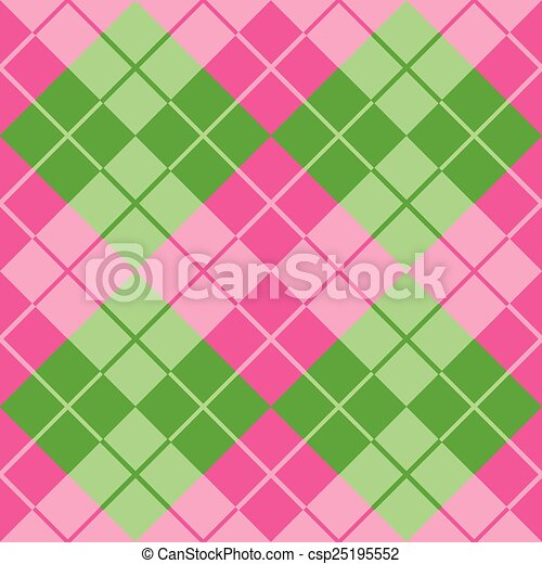 Argyle In Pink And Green Vector