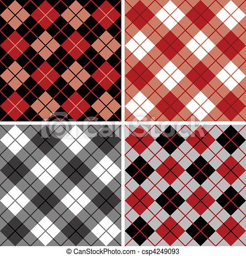 Argyle-Plaid Pattern in Black-Red - csp4249093