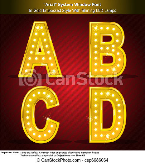 Arial Font in Gold Style With Shini - csp6686064