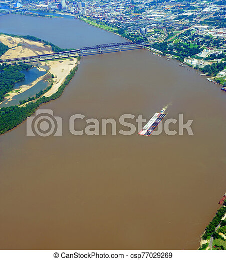 Ariel View of Mississippi River at Memphis Bridge - csp77029269
