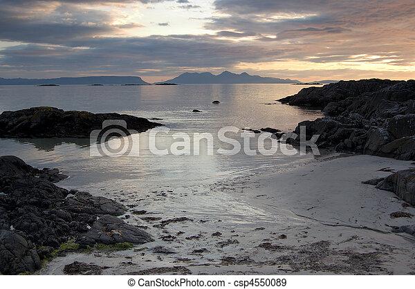 Arisaig beach with Inner Hebrides in distance - csp4550089