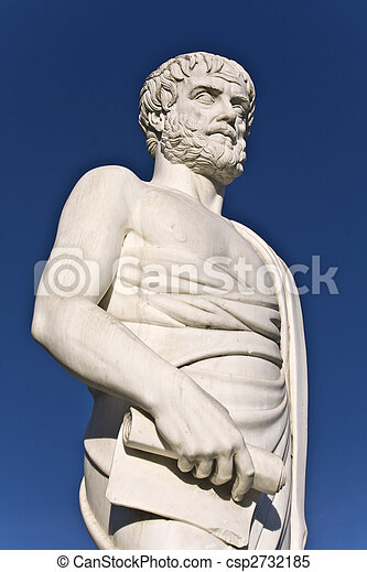 Aristotle statue located at Stageira of Greece  - csp2732185