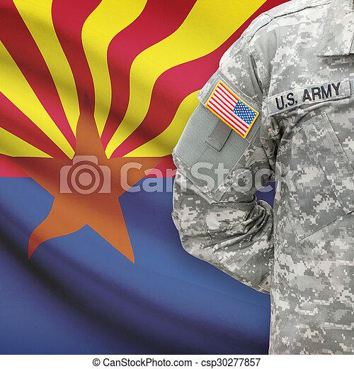 arizona, -, állam, bennünket, katona, lobogó, háttér, amerikai - csp30277857