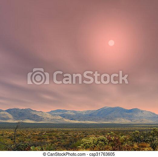 arizona , ανατολή , sonora άγονος  - csp31763605