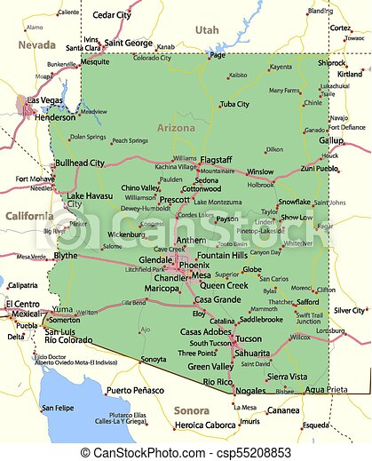 Map Of Arizona Bullhead City.Arizona