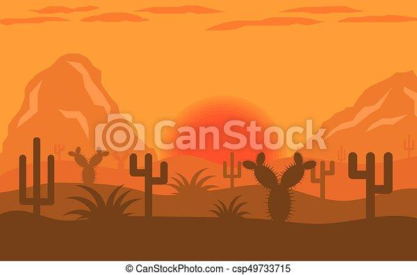 arizona desert sunset or sunrise landscape flat design desert rh canstockphoto com Cartoon Sunrise Clip Art Morning Sunrise Clip Art