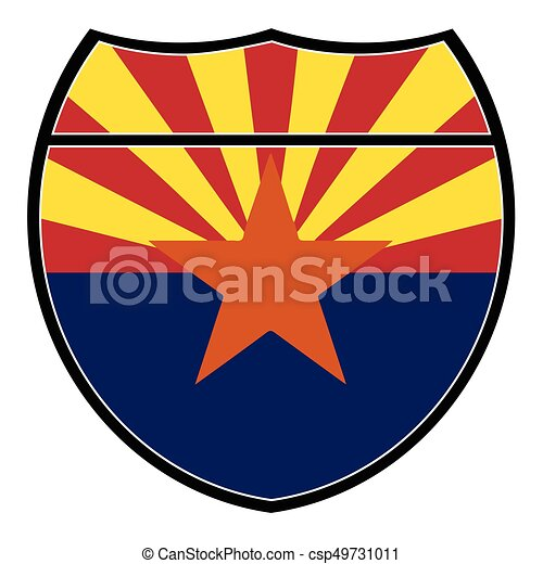 arizona flag in an interstate sign over a white background vector rh canstockphoto com clipart arizona flag arizona desert clipart