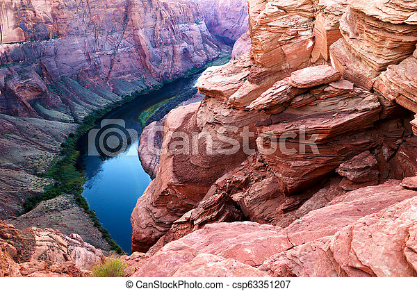 Arizona Horseshoe Bend meander of Colorado River in Glen Canyon. - csp63351207