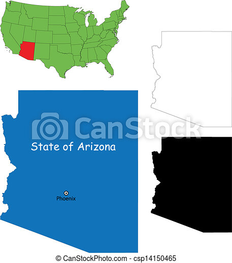 Clip Art Vector Of Arizona Map State Of Arizona USA Csp - Arizona map usa