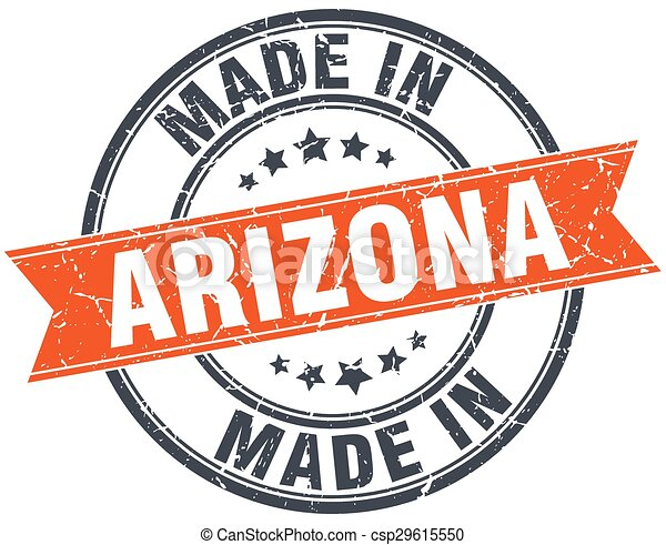 Arizona orange grunge ribbon stamp on white - csp29615550