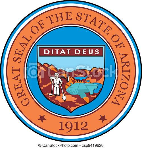 Arizona Seal Various Vector Flags State Symbols Emblems Of