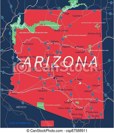 Arizona state detailed editable map - csp87588911