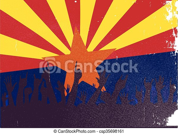 Arizona State Flag with Audience - csp35698161