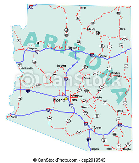 Arizona state interstate map. Arizona state road map with ...