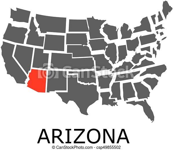 Arizona state on USA map