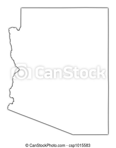 Drawings Of Arizona USA Outline Map With Shadow Detailed - Outline usa map