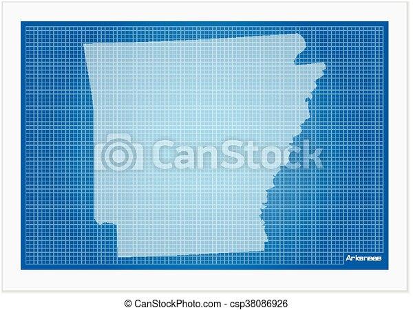 Arkansas on blueprint on a white background malvernweather Gallery