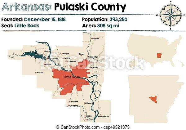 Arkansas Pulaski County Large And Detailed Map Of Arkansas