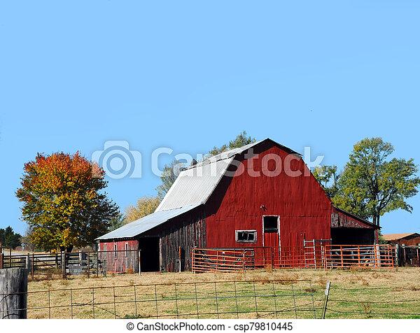 Arkansas Red Tin Covered Barn - csp79810445