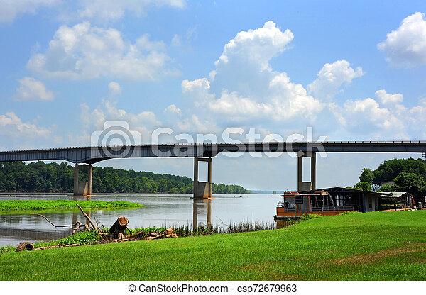 Arkansas River and Bridge - csp72679963