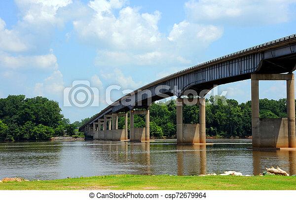 Arkansas River and River Bridge - csp72679964