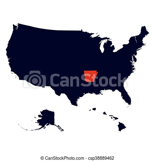Clip Art Vector Of Arkansas State In The United States Map Vector - United states map arkansas