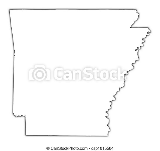Drawing Of ArkansasUSA Outline Map With Shadow Detailed - Drawing of usa map