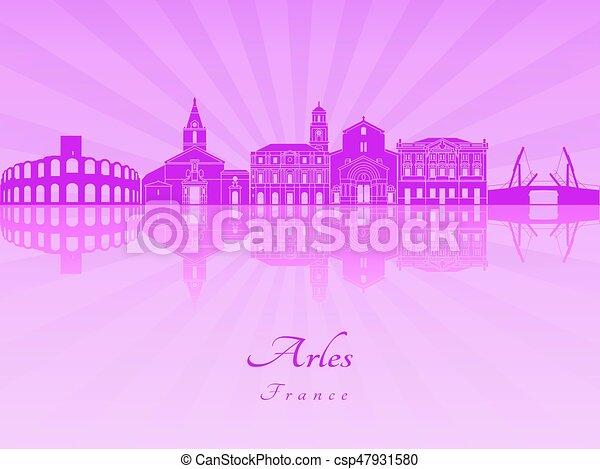 Arles skyline in purple radiant orchid - csp47931580